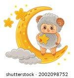 cute ram or sheep cartoon... | Shutterstock .eps vector #2002098752