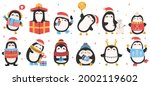 cute holiday penguins.... | Shutterstock .eps vector #2002119602