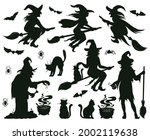 halloween witch silhouettes.... | Shutterstock .eps vector #2002119638