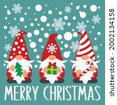 christmas gnomes vector...   Shutterstock .eps vector #2002134158