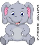 cute elephant cartoon | Shutterstock . vector #200213906