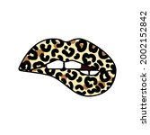 bitting lips with leopard print....   Shutterstock .eps vector #2002152842