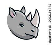 cartoon rhino head. hand drawn... | Shutterstock .eps vector #2002196792