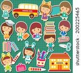 school kids clip art   Shutterstock .eps vector #200225465