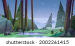 forest at raining day scenery...   Shutterstock .eps vector #2002261415