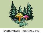 mushroom in the woods...   Shutterstock .eps vector #2002269542