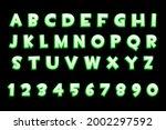 3d green neon alphabet and...