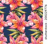 beautiful lily flowers seamless ... | Shutterstock . vector #200229776