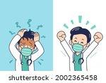 cartoon male doctor wearing...   Shutterstock .eps vector #2002365458