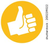 thumb up icon over orange label | Shutterstock .eps vector #200239022