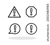 set of warning sign icons in...