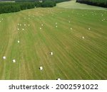 Drone View Of Hay Bales In...