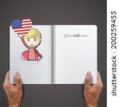 kid holding a heart flag... | Shutterstock .eps vector #200259455