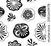 exotic doodle flowers white on... | Shutterstock .eps vector #2002643978
