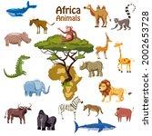 africa tropical animals map... | Shutterstock .eps vector #2002653728
