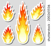 fire flame stickers set | Shutterstock .eps vector #200265536