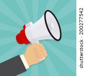 hand holding a megaphone.... | Shutterstock .eps vector #200277542