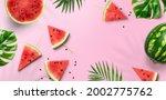 summer trendy bright watermelon ... | Shutterstock . vector #2002775762