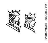 king and queen head figure line ...   Shutterstock .eps vector #2002867145