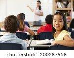 teacher and schoolchildren in... | Shutterstock . vector #200287958