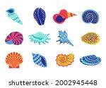 sea shells. cartoon tropical...   Shutterstock .eps vector #2002945448