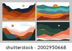 abstract wavy shapes mountain... | Shutterstock .eps vector #2002950668