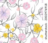 pink flowers blooming pattern.... | Shutterstock .eps vector #2002976918