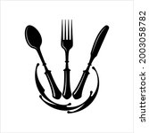 cutlery icon  fork  spoon and...   Shutterstock .eps vector #2003058782
