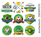 Soccer ( Football ) badge and labels.Illustration eps10 - stock vector