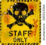 staff only sign w. bullet holes ...   Shutterstock .eps vector #200313566