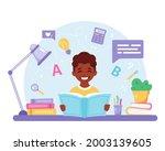 black boy reading book. black...   Shutterstock .eps vector #2003139605