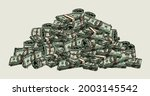 big pile of money colorful... | Shutterstock .eps vector #2003145542