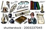 literature set. ink and pen ... | Shutterstock .eps vector #2003237045