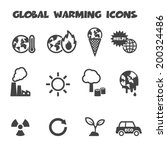 global warming icons  mono