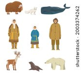 polar inhabitants and animals...   Shutterstock .eps vector #2003374262
