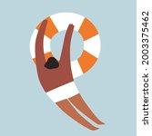 tourists swim  sunbathe  engage ... | Shutterstock .eps vector #2003375462