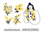 set of women and flowers.... | Shutterstock . vector #2003520002