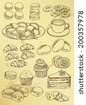 set of hand drawing  cakes and... | Shutterstock .eps vector #200357978