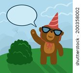 birthday of a bear in the woods | Shutterstock .eps vector #200358002