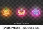 halloween pumpkin neon sign.... | Shutterstock .eps vector #2003581238