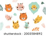jungle animal face set. jungle...   Shutterstock . vector #2003584892