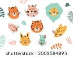 jungle animal face set. jungle...   Shutterstock .eps vector #2003584895