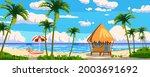tropical resort wooden bungalow ... | Shutterstock .eps vector #2003691692