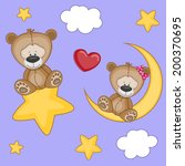 valentine card with lovers bears | Shutterstock .eps vector #200370695