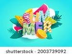 summer poster design. colorful... | Shutterstock .eps vector #2003739092