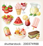 set of cold sweet summer food... | Shutterstock .eps vector #200374988