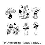 mystical mushrooms isolated...   Shutterstock .eps vector #2003758022