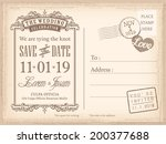 vintage postcard save the date... | Shutterstock .eps vector #200377688