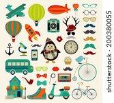 retro colorful icon set.... | Shutterstock .eps vector #200380055