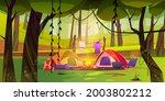 summer camp on forest glade... | Shutterstock .eps vector #2003802212